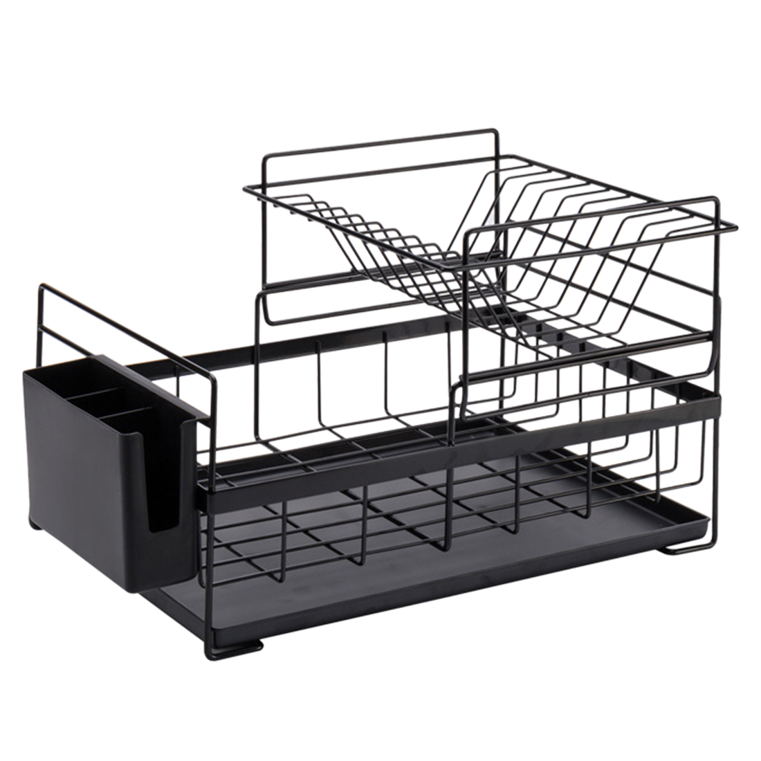 2-Tier Iron Dish Drainer Shelf Kitchen Tableware Drying Rack Home Washing Sink Dish Drainer Drying Rack Organizer - Black White
