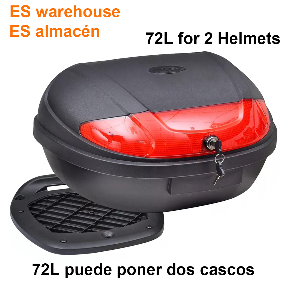 ES Warehouse 72L Motorcycle Top Case Waterproof Motor Trunk Box For 2 Helmets Motorbike Rear Storage Luggage Tool Box Black