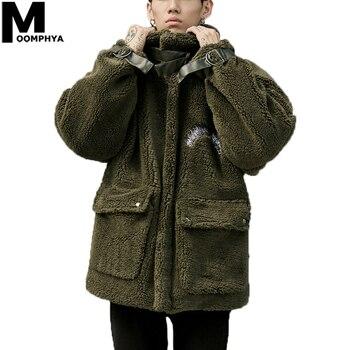 Moomphya Berber Fleece Winter Warm Turtleneck Men Jackets Streetwear Hip Hop Windbreaker Jacket Men 2020 Oversized Coat Men