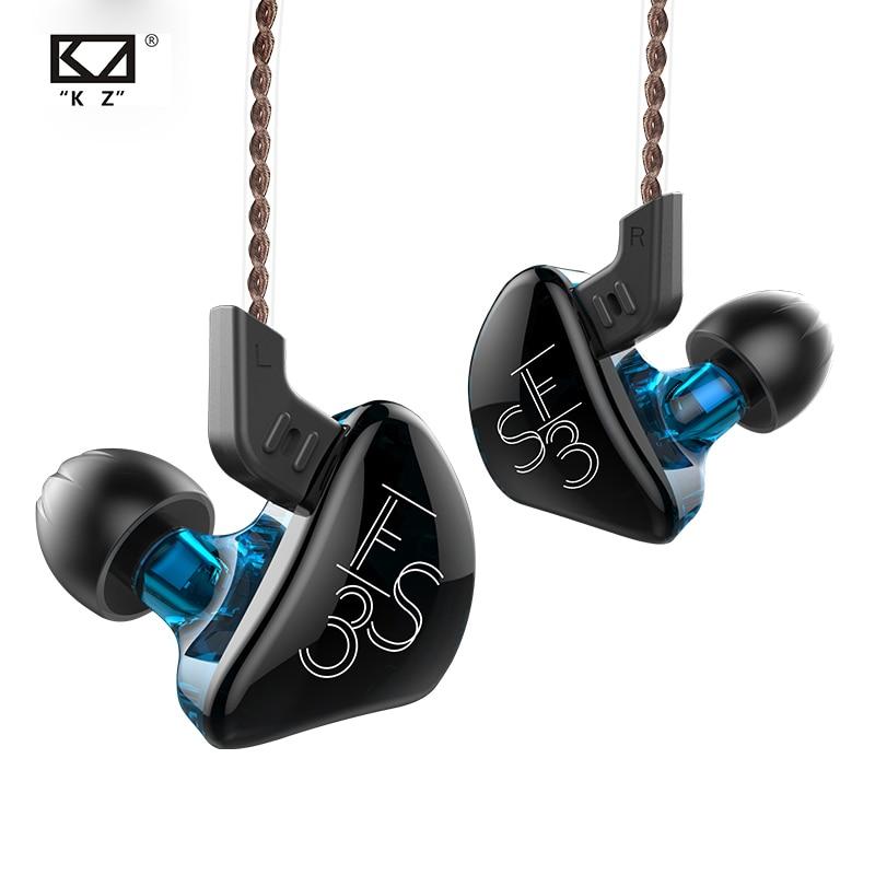 KZ ES3 1DD + 1BA Hifi спортивные наушники-вкладыши Динамический драйвер шумоподавление Гарнитура сменный кабель ZS10 ES4 ZS3 ED12 ZST ZSN
