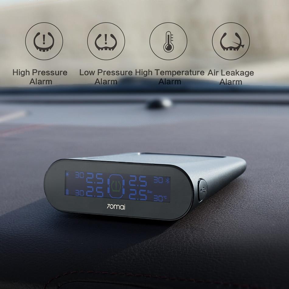 XIAOMI TPMS 70mai Тестер давления в шинах монитор Солнечная энергия 70 Mai приложение ЖК-дисплей Автомобильная охранная сигнализация давление в шина...