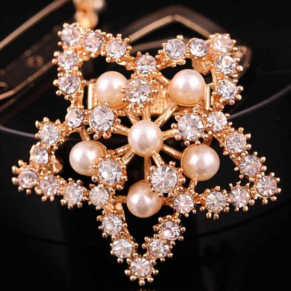 2019 kobiety jedwabny szal zacisk mocujący kapelusz akcesoria kryształ kwiat duża perła rhinestone na ubrania ze stopu Pin broszki biżuteria