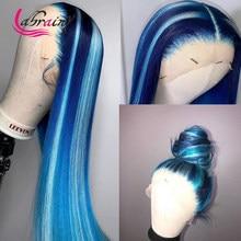 Blone прямой синий свет 613 блонд кружева передний парик бесклеевой цветной HD прозрачный предварительно выщипанный бразильский парик из челов...