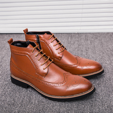 2019 New Men High-Top Leather Dress Shoes Luxury Br