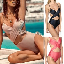 KANCOOLD sexy bandage One Piece swimsuit mid waist push-up swimswear Bodysuit padded mejur bathing red swimsuits plus size S-2XL(China)