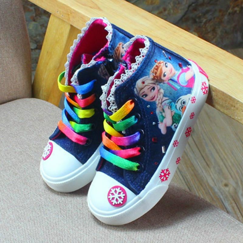 Novo outono crianças sapatos para meninas tênis elsa anna princesa lona crianças sapatos denim correndo esporte bebê meninas grandes sapatos 2-14t
