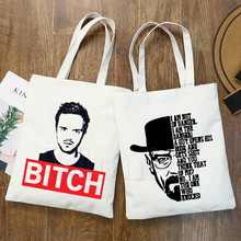 Heisenberg Breaking Bad Vrouwen Vrouwelijke Opvouwbare Canvas Schoudertas Canvas Tote Eco Boodschappentas Canvas Tote Bag Casual Handtas(China)