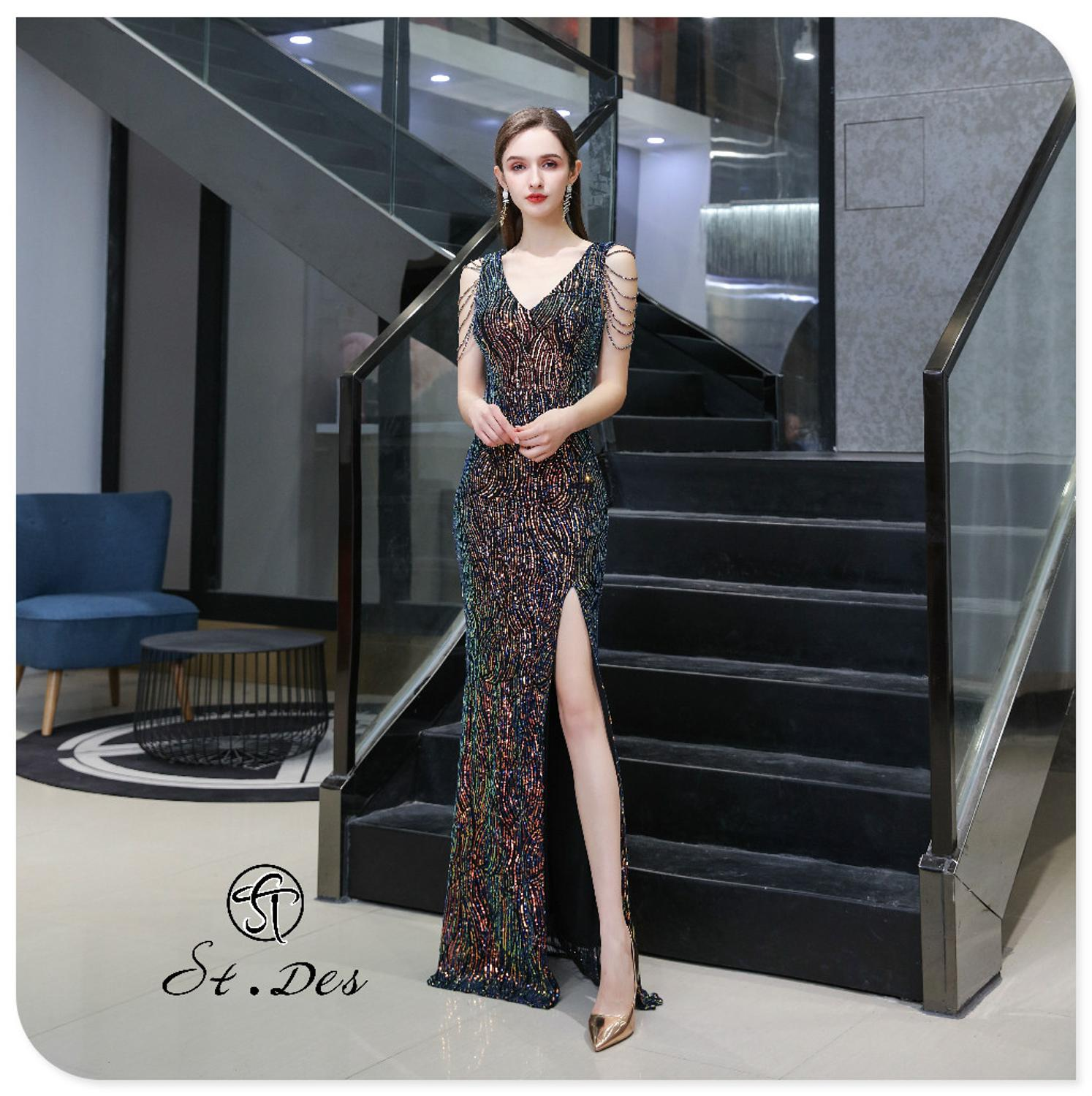 2020 S.T.DES New Arrival V-neck Black Shining Beading Floor Length Sequined Sparkling Sexy Split Hem Evening Gowns Party Dress