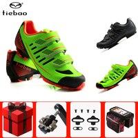 Tiebao ciclismo sapatos spd pedal conjunto sapaticultura mtb profissional sapatos de bicicleta de corrida atlética de bloqueio automático tênis|Sapatos de ciclismo| |  -