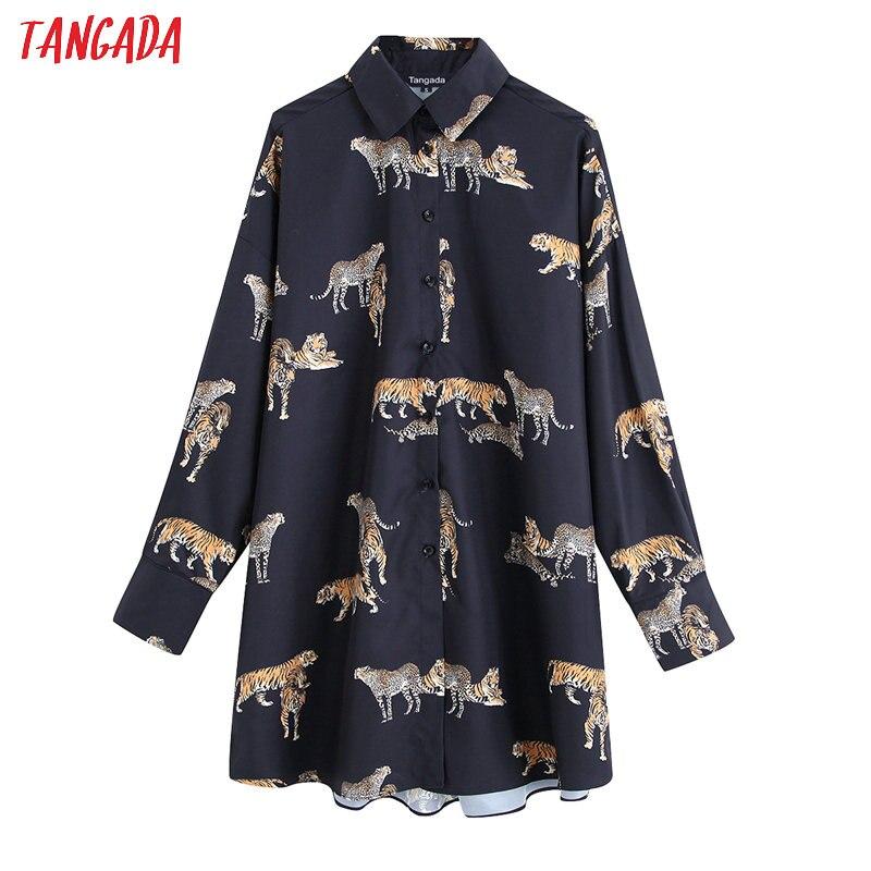 Tangada Women Retro Oversized Animal Print Blouse Long Sleeve Chic Female Casual Loose Shirt Blusas Tops BE118