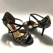 Latin-Dance-Shoes Heel Leopard Women for Comfortable MS6205LBS Sexy