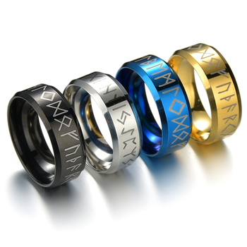 Punk Fashion Style Stainless Steel Male Jewelry Viking Ring Female Black Amulet Vintage Norse Rune Rings For Men Women image