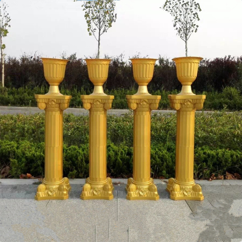 Wedding Roman Column Gold Plastic Flower Pot Road Lead Wedding Scene Layout Silk Flower T Stage Roman Column Decoration Props - 5