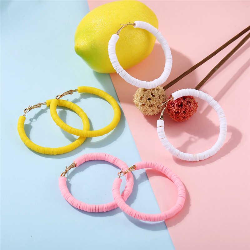 Big Candy สีรอบวงกลมต่างหูผู้หญิงอินเทรนด์สีเหลืองสีชมพูสีขาวรอบต่างหูน่ารัก 2019 แฟชั่นเครื่องประดับ