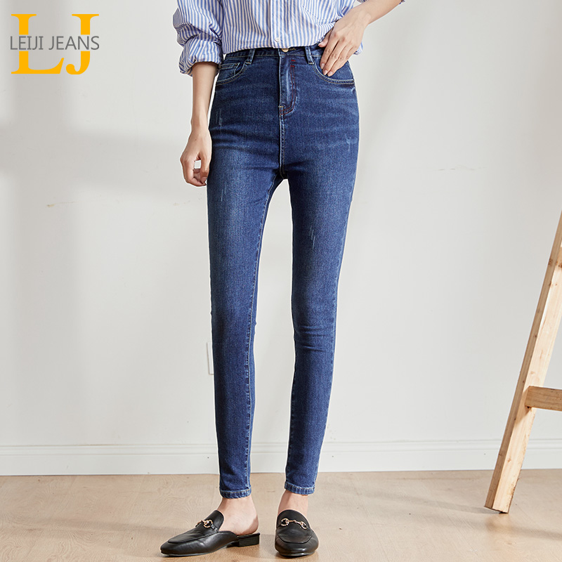 LEIJIJEANS 2019 New Autumn Large Size Women's High Waist Slim Feet Jeans Classic Casual Ladies Pant Stretchy Women Jeans 9208