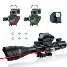 Tactical Hunting Optics Scope 4-12X50EG Fiber Sight + Holographic Sight 4 Reticle Red Green Dot Sight + Red Laser 20mm Rail 4 12x50eg tactical rifle scope with holographic 4 reticle sight