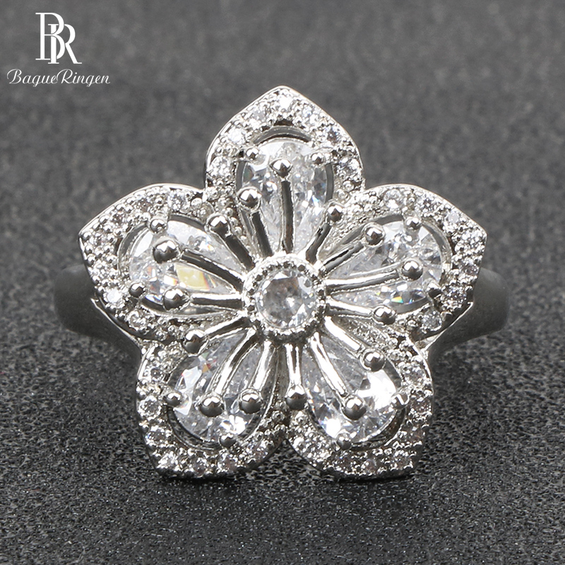 Bague Ringen Luxury Silver 925 Rings for Women Charms Fine Jewelry Water Drop Gemstones Wedding Elegant Flower shaped ring Gift