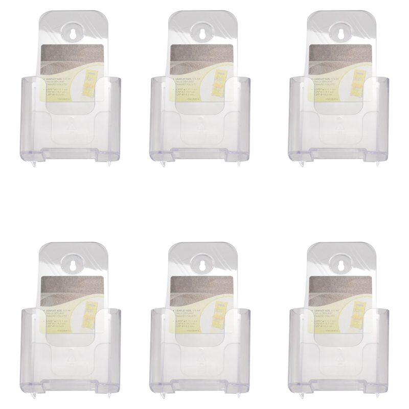 6 Pack Premium Trifold 4 Inches Wide Brochure Holder, Plastic Brochure Holder Wall Mount Clear Countertop Organizer Literature H