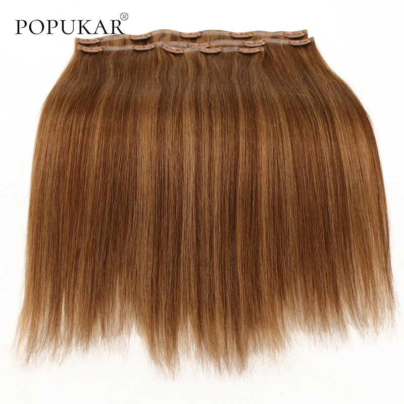Popukar Clip In Human Remy Hair Extensions Seamless 3pcs/set 12-26inch Highlight Brizillian Hair Virgin Human Clip In
