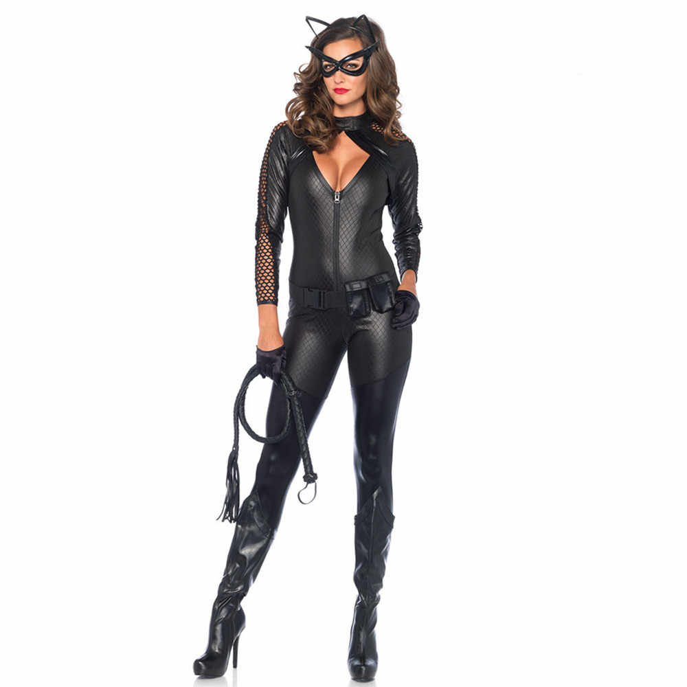 Disfraces Halloween 2020 Cat Woman Women Sexy Halloween Catwoman Costume Cut Out Chest Faux Leather