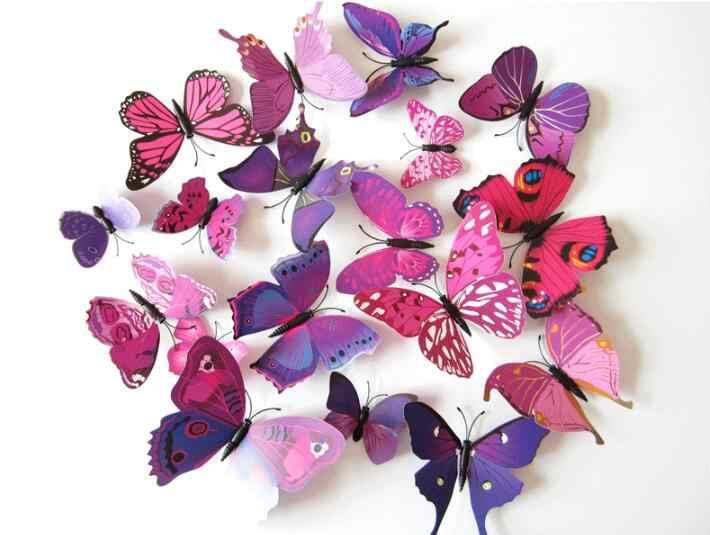 12 pçs/lote borboleta 3d parede stikcer pino clipe de plástico borboleta cortinas geladeira aderindo casa decoração festa suprimentos
