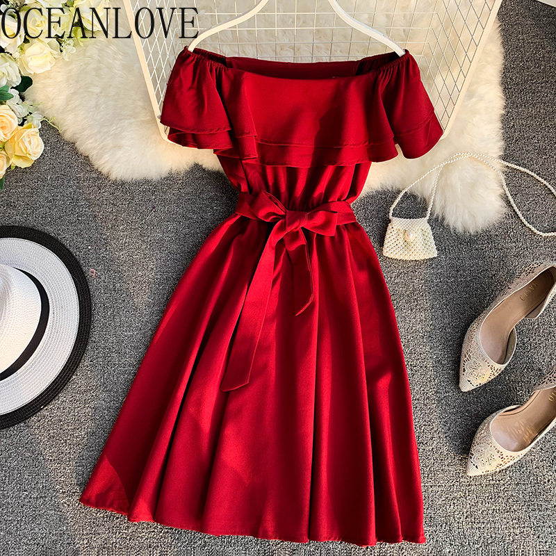 OCEANLOVE Solid Elegant Off Shoulder Sexy Dress Women 2020 Spring Summer Ruffles Vestidos Beach Style Korean Midi Dresses 13959