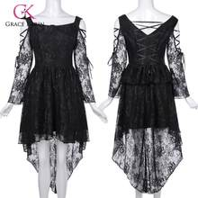 Grace Karin vrouwen Retro Vintage Jurk Gothic Victoriaanse Lange Mouw High-Low Lace Jurk Fashion Lady Black Lace jurk(China)