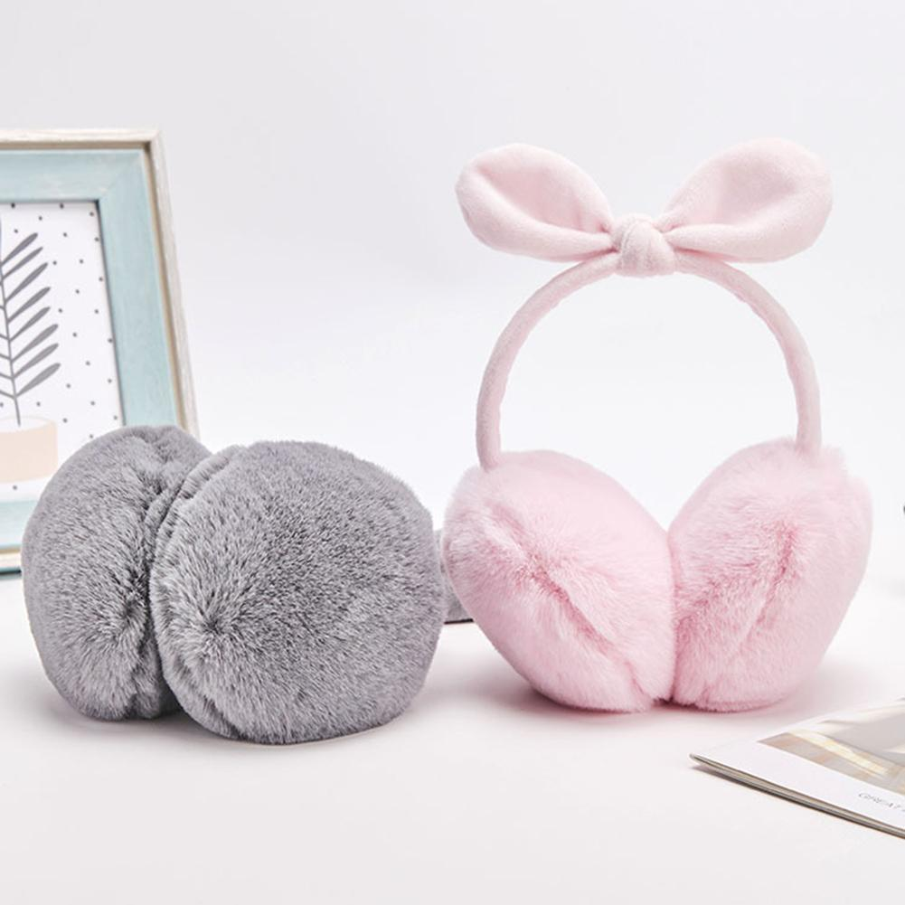 Cute Women Winter Solid Color Bowknot Plush Ear Warmers Covers Earmuffs Earflaps