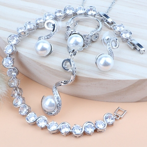 Silver 925 Bridal Pearl Jewelry Sets Wed