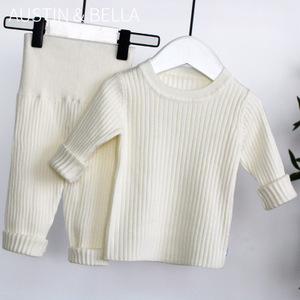 Image 4 - 2020 春の新 6m 4t冬の女の赤ちゃんセットニットboysセットセーター + パンツ 2 個子供服綿ニットスーツ