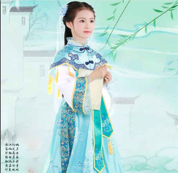Ling Luo WYJN Light Blue Little Girl Princess Costume Hanfu For Photography Stage Performance Republican Period Miss Hanfu