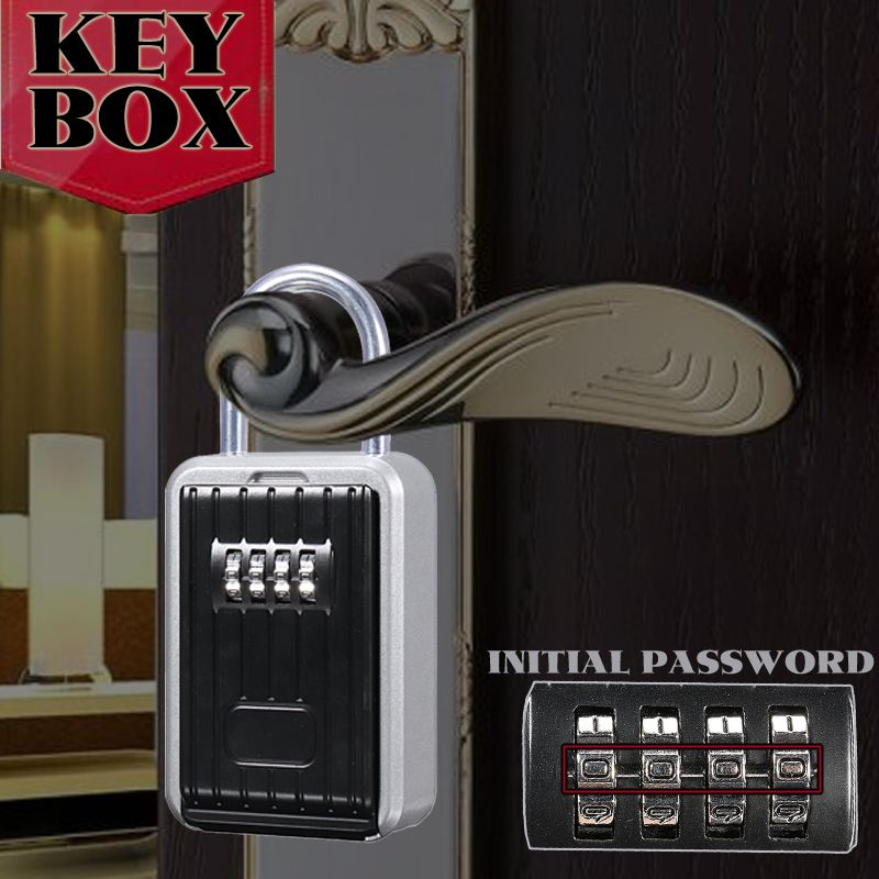 Durable Lock Outdoor Key Safe Box Keys Storage Box Padlock Use Password Lock Aluminum Alloy Keys Hook Security Organizer Boxes