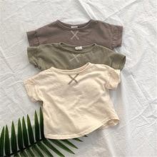 T-Shirt Tees Toddler Baby Summer Girl Boy And Cotton Solid Short Kids Fashion Melario