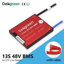 Deligreen 13s li ion bms 15a 20a 30a 40a 50a 60a 48v pwb/bms para 3.7v bateria de lítio bloco 18650 lincm li polímero scooter