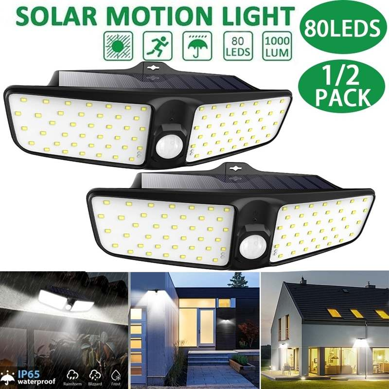 80 LED Solar Light Double Head PIR Motion Sensor Lamp Waterproof IP65 Garden Back Door Step Stair Fence Deck Yard Driveway