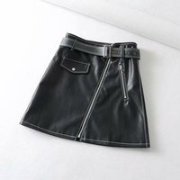 Autumn Women's Korean Style PU Skirts Locomotive Leather Skirts