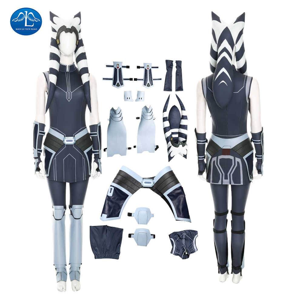 Star War De Clone Wars Seizoen 7 Ahsoka Tano Cosplay Kostuum Halloween Superhero Outfit Fancy Hoed Party Pak