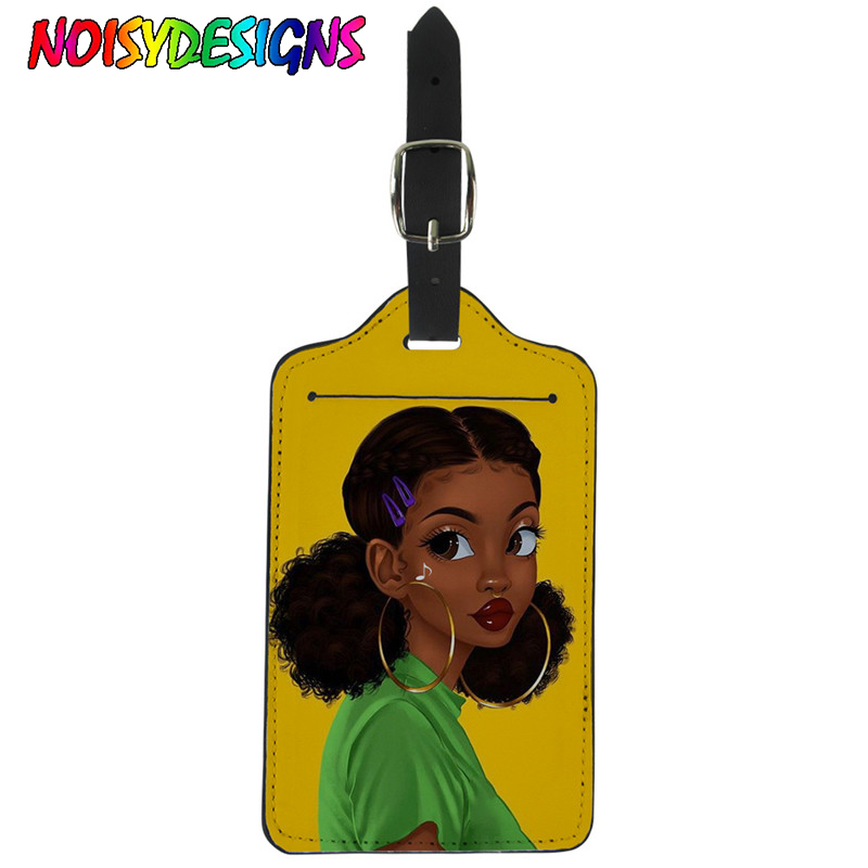NOISYDESIGNS African American Girl Printing Suitcase Luggage Tag Label Bag Pendant Handbag Portable Travel Accessories