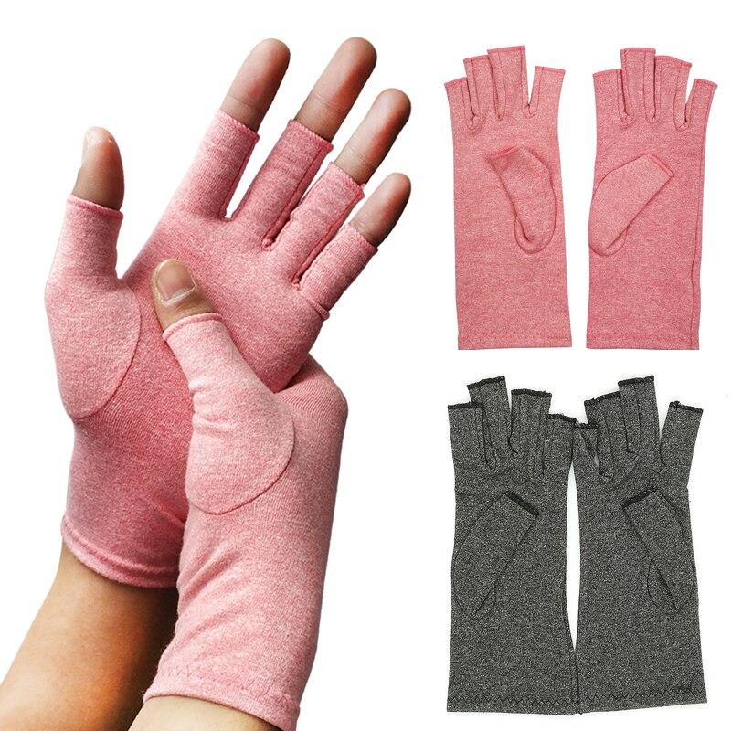 Компрессионные перчатки для облегчения симптомов Половина Finger перчатки при артрите дышащие вышитые Термальность Перчатки женские наручны...