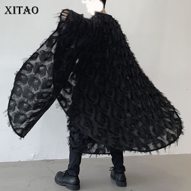 XITAO Plus Size Tassel Trench Women Black White Irregular Pleated Patchwork Bat Sleeved Full Sleeve Elegant Small Fresh XJ2634