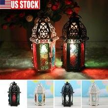 Candelero estilo marroquí europeo de hierro, candelabro ruso, candelabro de candelabro, candelabro de pilar de vela, soporte de lámpara de jardín vintage