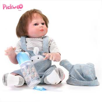 Pickwoo 48CM Full Body Silicone Reborn Baby Doll Boy Reborn Hand Paint Red Skin Rooted Hair Waterproof Bath Toy