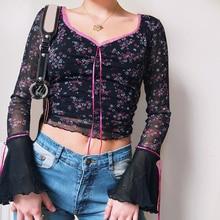 Mesh Tops Women t-Shirts Flare Aesthetic Streetwear Long-Sleeve Y2K Korea-Style Cloth