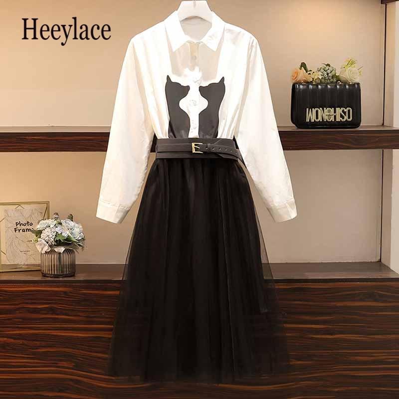 Plus Size Chic Dress Women Mesh Patchwork Midi Shirt Dress Korea Long Sleeve Cat Print Buttons Bandage Slim Office Lady Outfit