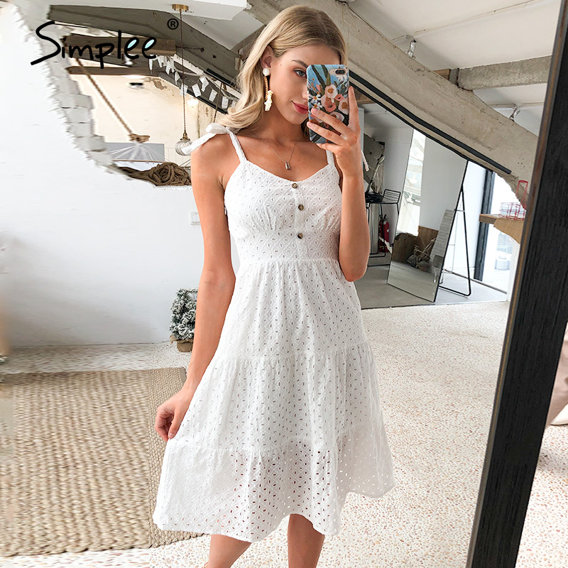 Simplee Casual White Women Summer Beach Dress Bow-knot Shoulder Embroidery Hollow Out Female Midi Dress Backless Dress Vestidos