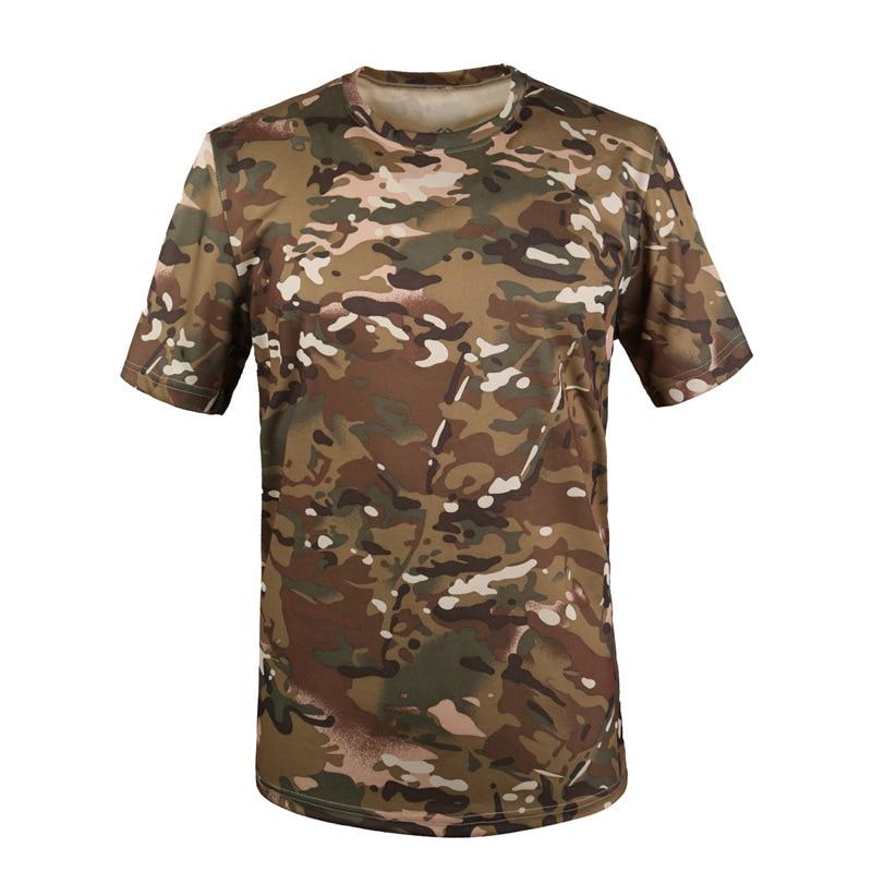 Militar tático t camisa masculina verão secagem rápida respirável o pescoço manga curta de fitness topos algodão camuflagem combate t camisas - 3
