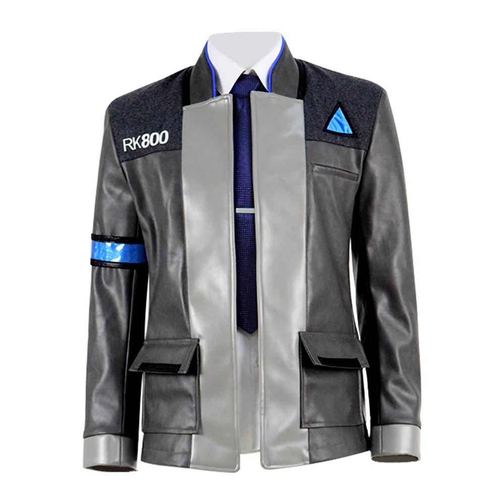 Cossky Connor Jacket Men Cosplay Costume RK800 Uniform PU Gray Jacket Coat