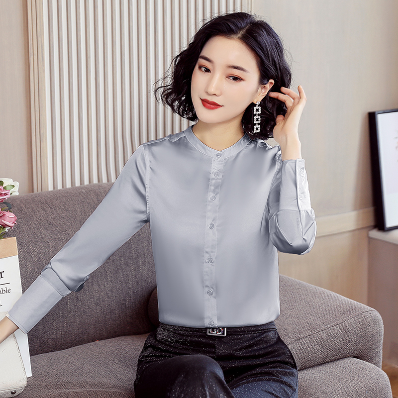 Korean Silk Women Blouses Woman Long Sleeve Satin Shirts Elegant Women Solid Blouses Tops Plus Size 3XL Womens Tops And Blouses