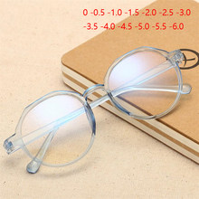 Gafas transparentes con montura azul para miopía Unisex, anteojos redondos Retro para miopía, dioptrías de 0-0,5-1,0 a-6,0