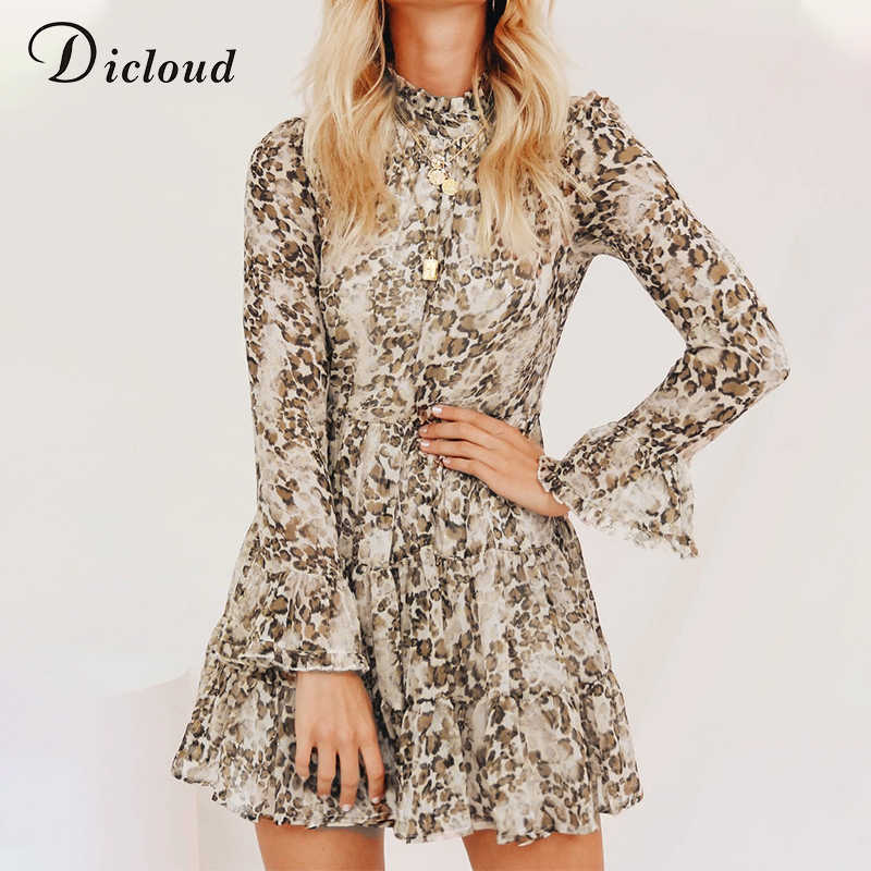 DICLOUD Leopard Print High Neck Chiffon Dress For Women 2020 Spring Winter Long Sleeve Mini Party Dress Sexy Clothing Female